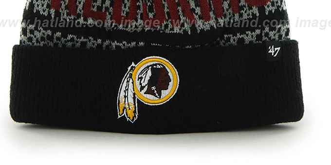 Redskins 'BEDROCK' Black-Grey Knit Beanie Hat by Twins 47 Brand