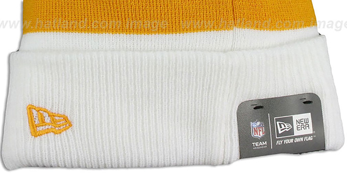 Redskins 'CUFF-SCRIPTER' White-Gold-Burgundy Knit Beanie Hat by New Era