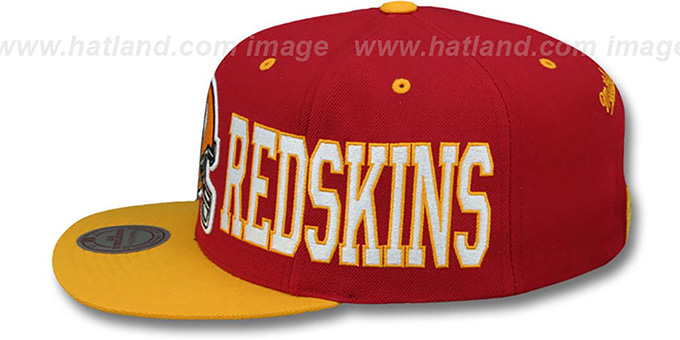 Redskins 'HELMET-WORDWRAP SNAPBACK' Burgundy-Gold Hat by Mitchell and Ness