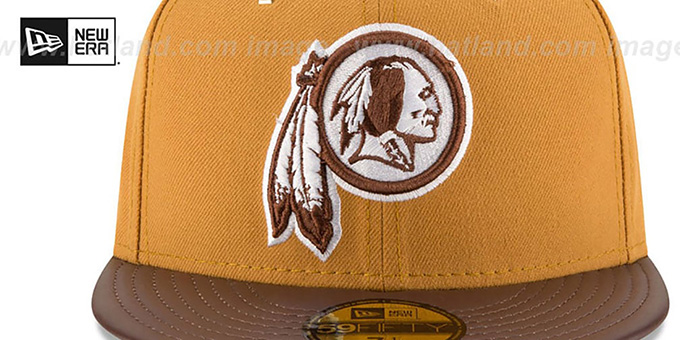 b9f896b9 ... Redskins 'METAL HOOK' Wheat-Brown Fitted Hat by New Era ...