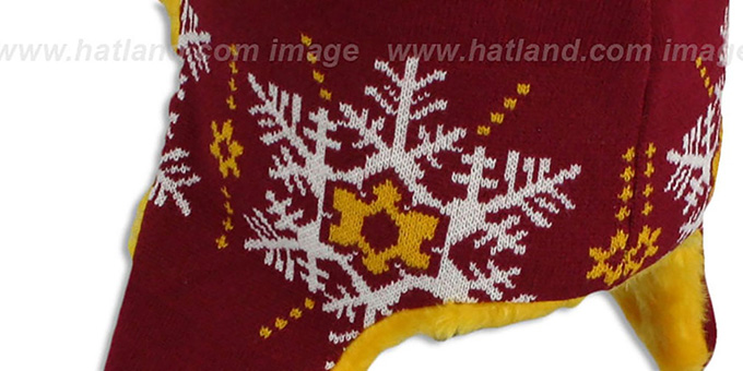 Redskins 'SNOWFLAKE TRAPPER' Burgundy-Gold Knit Hat by New Era