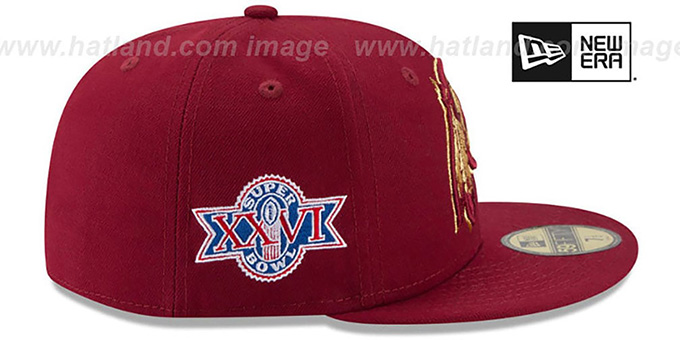 Redskins 'SUPER BOWL XXVI GOLD-50' Burgundy Fitted Hat by New Era