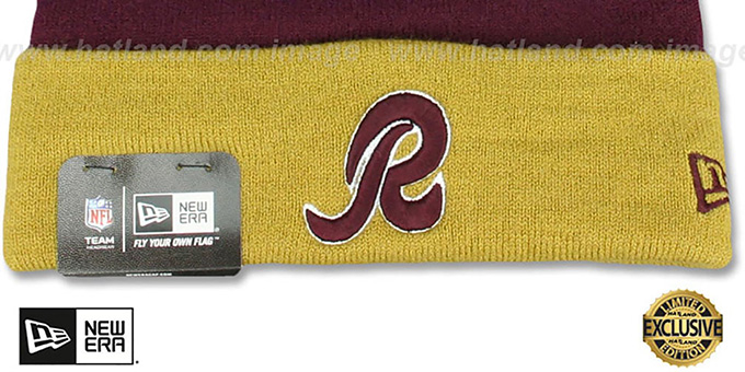 Redskins 'THROWBACK SPEARS' Maroon-Gold Knit Beanie Hat by New Era