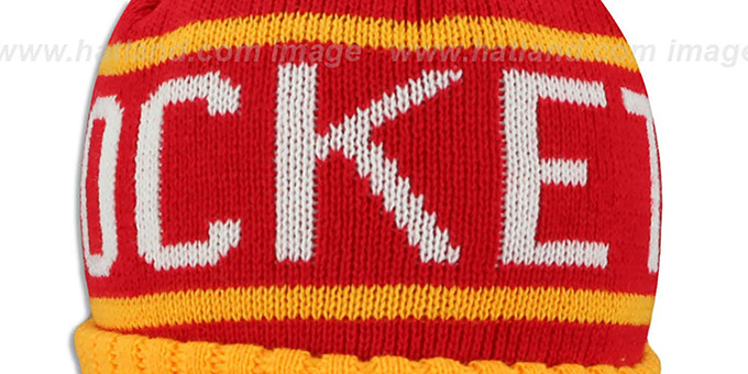 Rockets 'HIGH-5 CIRCLE BEANIE' Red-Gold by Mitchell and Ness