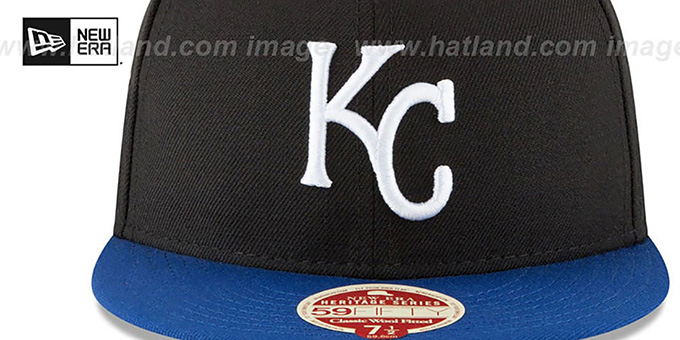 Royals 'MLB WOOL-STANDARD' Black-Royal Fitted Hat by New Era