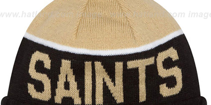 Saints '2015 STADIUM' Black-Gold Knit Beanie Hat by New Era