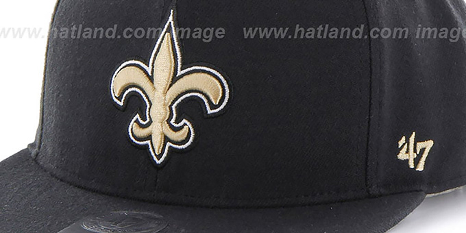 Saints 'SUPER-SHOT STRAPBACK' Black Hat by Twins 47 Brand