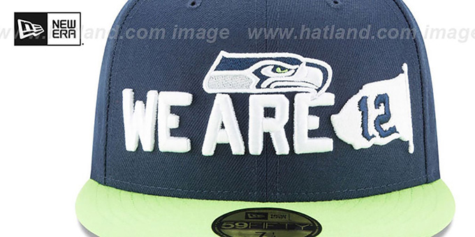 841dd231 Seattle Seahawks 2018 SPOTLIGHT Navy-Lime Fitted Hat by New Era
