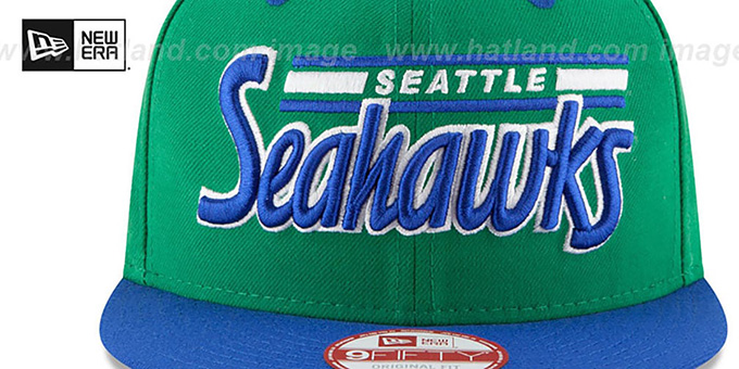 Seahawks '2T RETRO-SCRIPT SNAPBACK' Green-Royal Hat by New Era