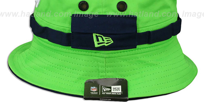 Seahawks 'ADVENTURE' Lime Bucket Hat by New Era