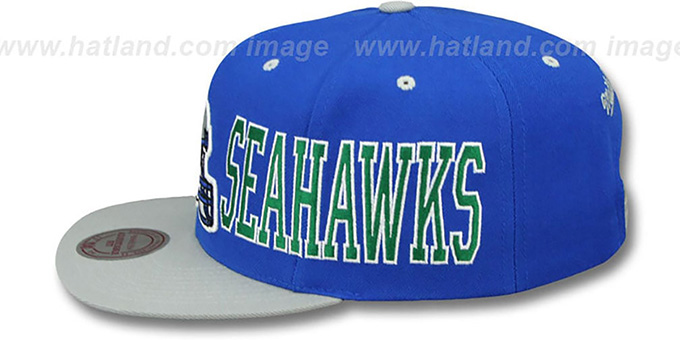 Seahawks 'HELMET-WORDWRAP SNAPBACK' Royal-Grey Hat by Mitchell and Ness