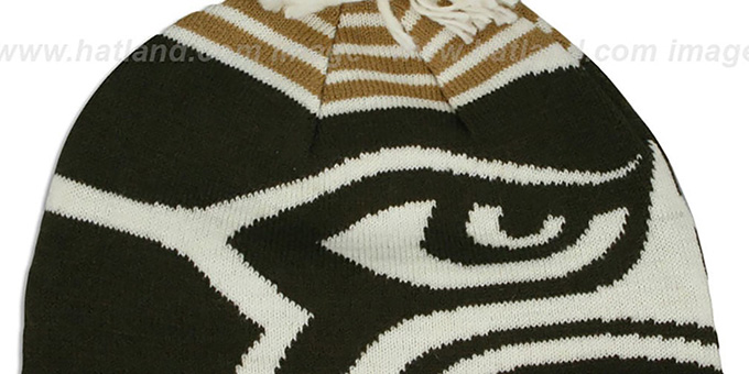Seahawks 'LOGO WHIZ' Brown-Wheat Knit Beanie Hat by New Era