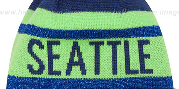 Seahawks 'METALLIC STRIPE' Navy-Lime Knit Beanie Hat by New Era
