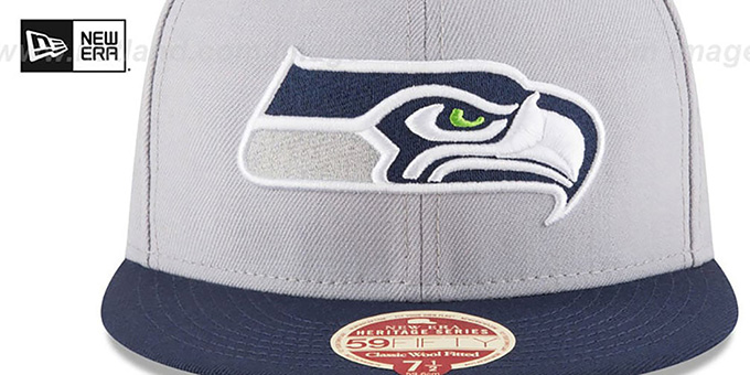 Seahawks 'NFL WOOL-STANDARD' Grey-Navy Fitted Hat by New Era