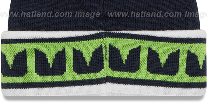 Seahawks 'TEAM-RELATION' Navy-Green Knit Beanie by New Era