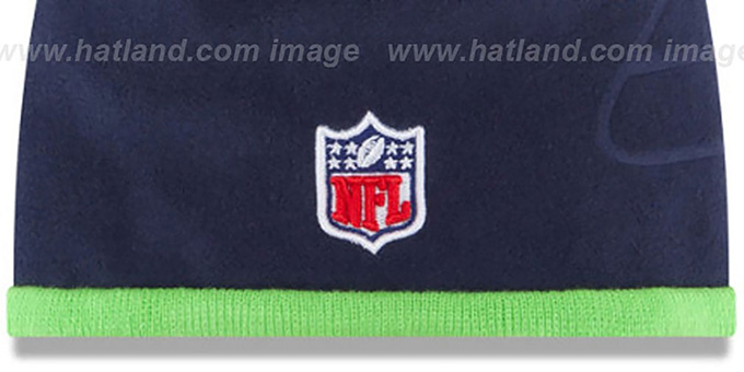 Seahawks 'TECH-KNIT STADIUM' Navy-Lime Knit Beanie Hat by New Era