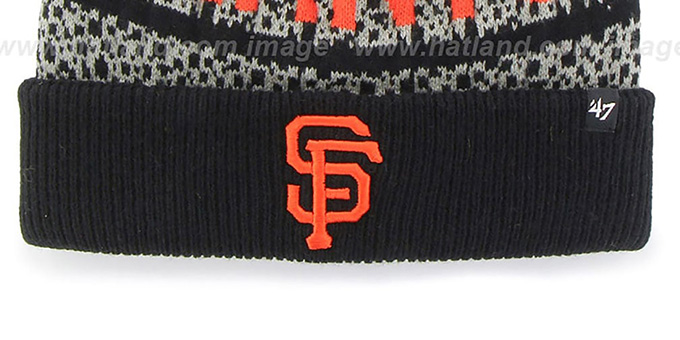 SF Giants 'BEDROCK' Black-Grey Knit Beanie Hat by Twins 47 Brand