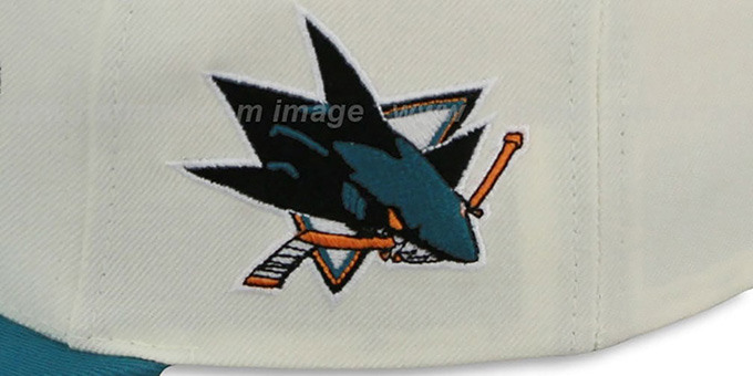 Sharks '2T TAILSWEEPER SNAPBACK' White-Teal Hat by Mitchell and Ness