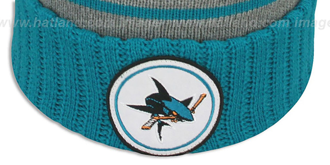 Sharks 'HIGH-5 CIRCLE BEANIE' Grey-Teal by Mitchell and Ness
