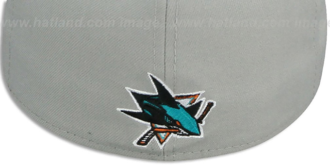 Sharks 'TRACE-POP' Grey-Teal Fitted Hat by New Era