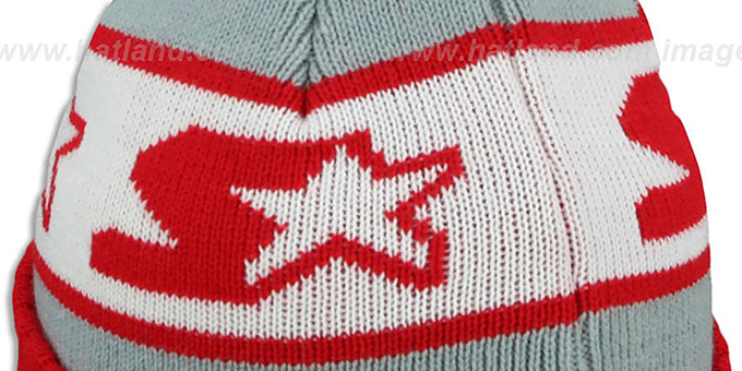 Starter 'S-STAR CLASSIC BOBBLE' Grey-Red Knit Beanie Hat