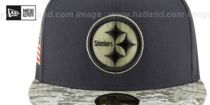 Steelers '2016 SALUTE-TO-SERVICE' Grey-Desert Fitted Hat by New Era