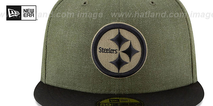 ... Steelers  2018 SALUTE-TO-SERVICE  Olive-Black Fitted Hat by New ... 19380fc07