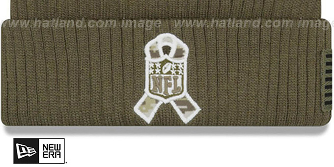 Steelers '2018 SALUTE-TO-SERVICE' Olive Knit Beanie Hat by New Era