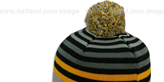 Steelers 'GREY STRIPETOP' Knit Beanie Hat by New Era