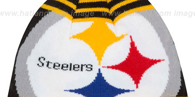 Steelers 'LOGO WHIZ' Black-Gold Knit Beanie Hat by New Era