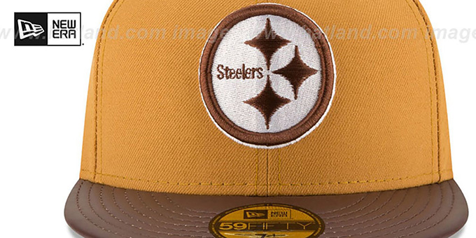 Steelers 'METAL HOOK' Wheat-Brown Fitted Hat by New Era