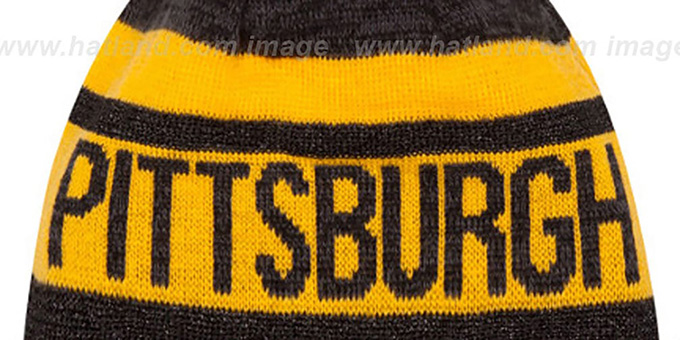 Steelers 'METALLIC STRIPE' Black-Gold Knit Beanie Hat by New Era