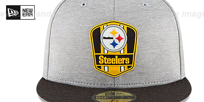 Steelers 'ROAD ONFIELD STADIUM' Grey-Black Fitted Hat by New Era