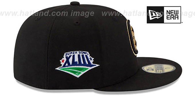 Steelers 'SUPER BOWL XLIII GOLD-50' Black Fitted Hat by New Era