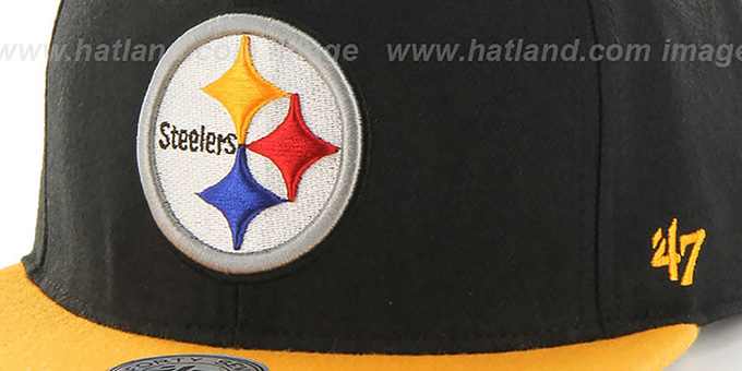 Steelers 'SUPER-SHOT STRAPBACK' Black-Gold Hat by Twins 47 Brand