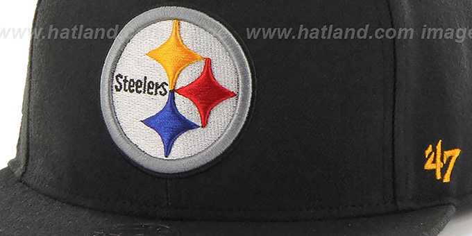 Steelers 'SUPER-SHOT STRAPBACK' Black Hat by Twins 47 Brand