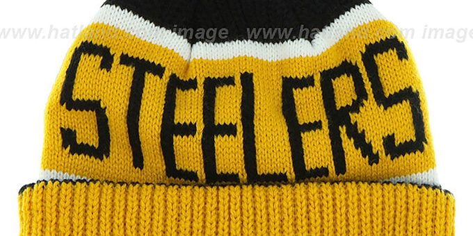 0445fb741c2235 ... Steelers 'THE-CALGARY' Gold-Black Knit Beanie Hat by Twins 47 Brand