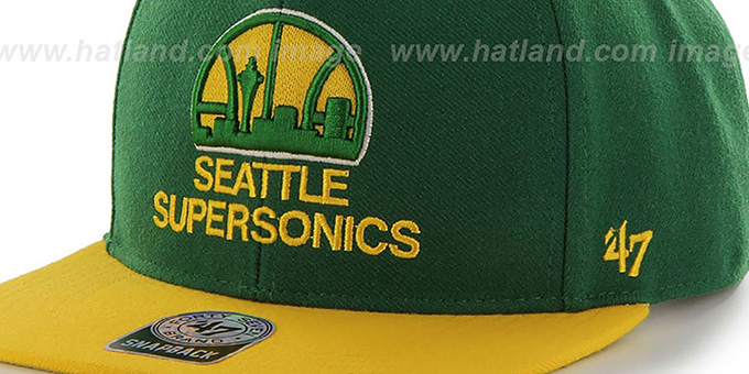 Supersonics 'SURE-SHOT SNAPBACK' Green-Gold Hat by Twins 47 Brand