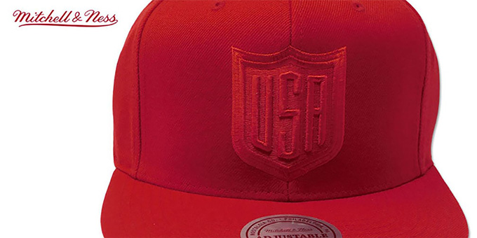Team USA TONAL 'SHIELD SNAPBACK' Red Hat by Mitchell and Ness