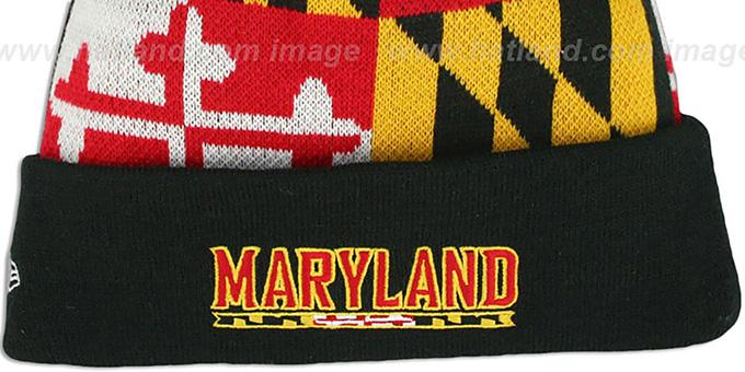 e0db284858e28 ... Terps  TURTLE MARYLAND-FLAG POM-POM  Knit Beanie Hat by New Era ...