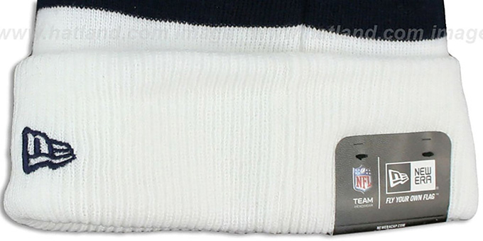 Texans 'CUFF-SCRIPTER' White-Navy-Red Knit Beanie Hat by New Era