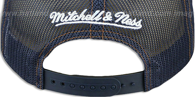 98270b22869 ... Thunder  DENIM-MESHBACK SNAPBACK  Navy Adjustable Hat by Mitchell and  Ness ...
