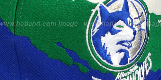 Timberwolves 'PAINTBRUSH SNAPBACK' White-Green-Royal Hat by Mitchell & Ness