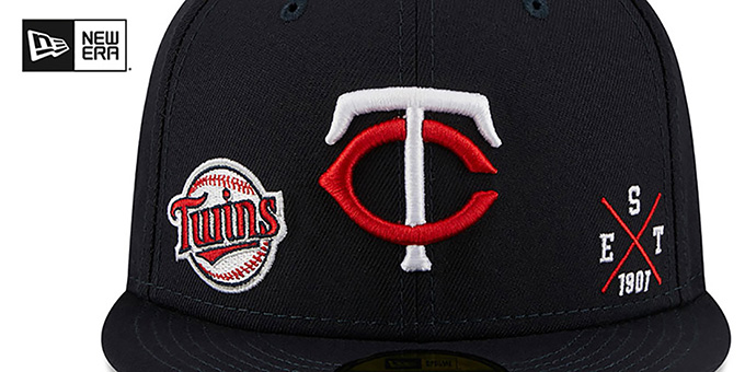 Twins 'MULTI-AROUND' Navy Fitted Hat by New Era