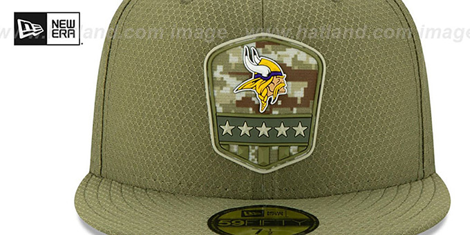 Vikings '2019 SALUTE-TO-SERVICE' Olive Fitted Hat by New Era