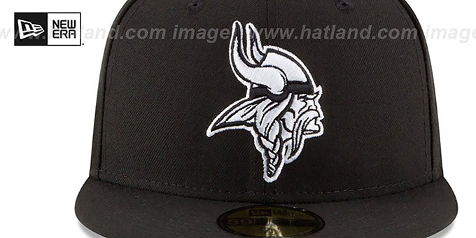 Vikings 'NFL TEAM-BASIC' Black-White Fitted Hat by New Era