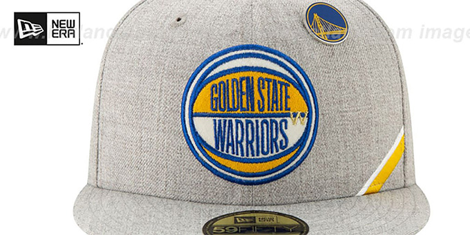 Warriors '2019 NBA DRAFT' Heather Grey Fitted Hat by New Era