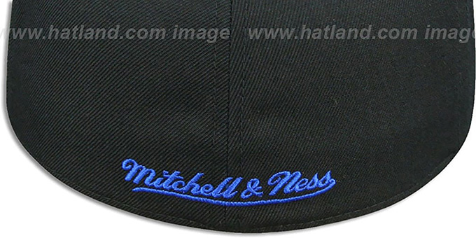 Warriors '2T XL-LOGO - 2' Black-Royal Fitted Hat by Mitchell and Ness