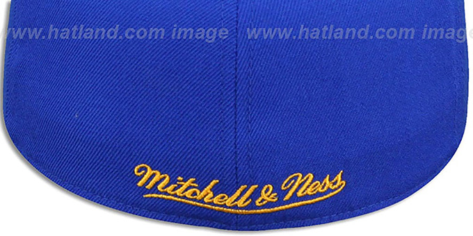 Warriors 'BASIC-LOGO' Royal Fitted Hat by Mitchell and Ness