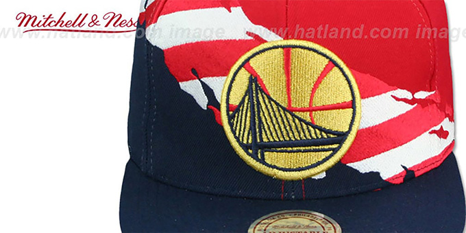 Warriors 'BRUSHED FLAG SNAPBACK' Red-Navy Hat by Mitchell and Ness